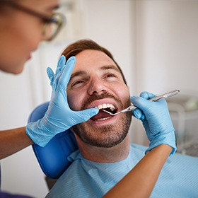 Man during dental exam