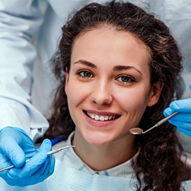 smiling young woman at her dental checkup