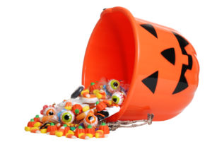 halloween bucket with candy